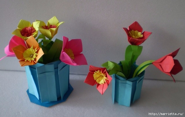 Бумажные цветы в горшочках в технике оригами (1) (639x406, 131Kb)