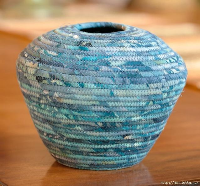 Корзинки, вазочки и коврик из лоскутков и бельевой веревки (4) (638x593, 239Kb)