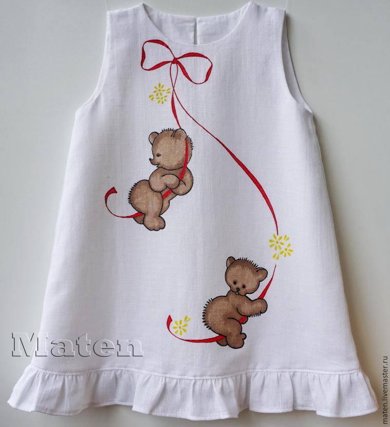 Роспись детского льняного платья