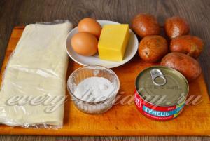 Ингредиенты для приготовления пирога с рыбной консервой