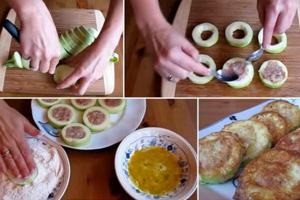 Восхитительные кабачки с мясом в кляре за 15 минут!