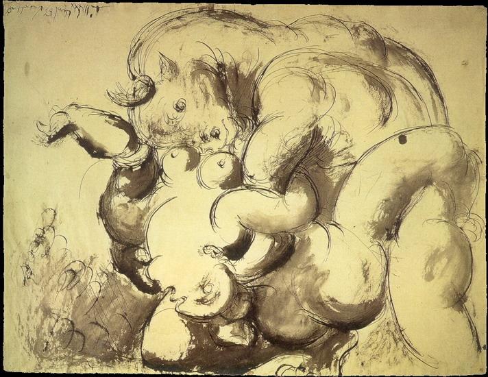 Пабло Пикассо. Минотавр и обнаженная. 1933 год