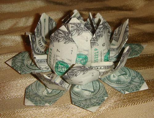 Цветы оригами из денег