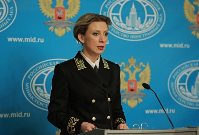 Мария Захарова впервые появилась перед журналистами в форме МИД