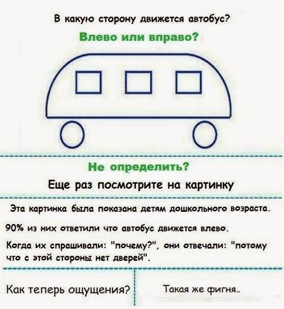 В какую сторону движется автобус? Проверьте свои силы!