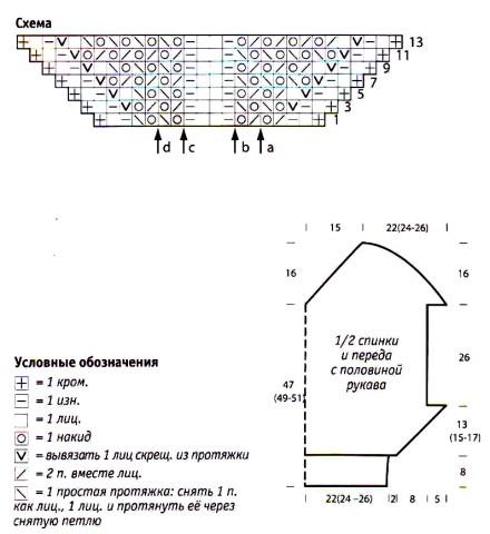 """Схема вязания пуловер с рукавами """"летучая мышь"""" раздел спицами вязаные кофты спицами со схемами"""
