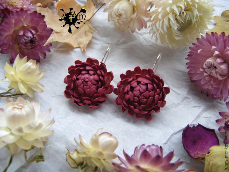 Создаем серьги с цветами бессмертника из полимерной глины
