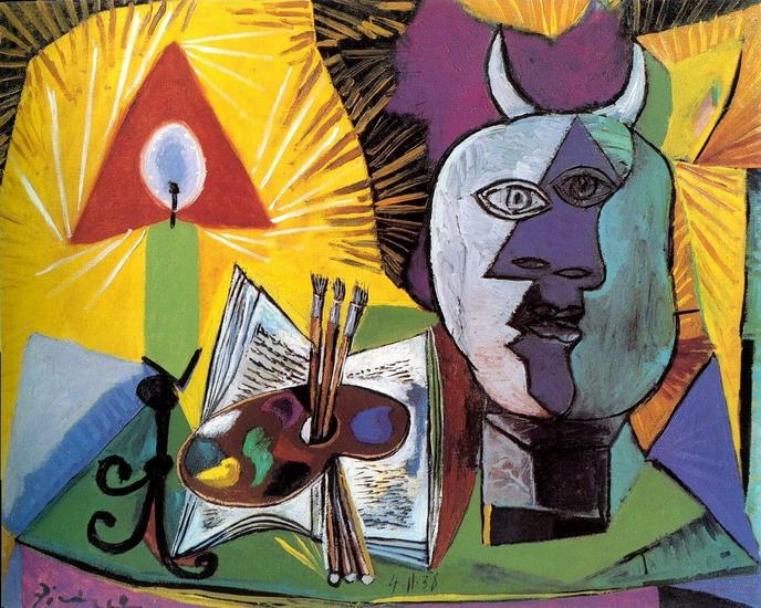Пабло Пикассо. Свеча, палитра, голова Минотавра. 1938 год