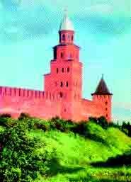 Новгородский детинец - фрагмент стены и башни Кукуй и Княжая (после реставрации). Возникновение Новгородского кремля письменные источники относят к 1044 году. До наших дней в кремле сохранилось девять башен