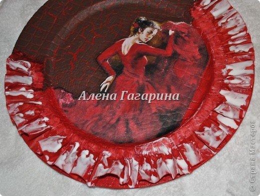 Декор предметов Мастер-класс Декупаж Тарелка Фламенко Бумага фото 14