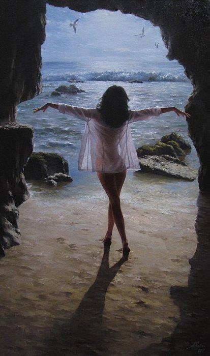 Танцует девушка у моря. Художник Кудин Александр