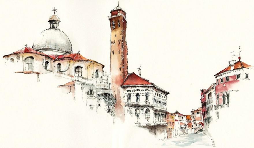 Любой город прекрасен, если его нарисовать акварелью