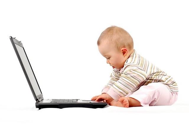 ребенок, малыш, компьютер, ноутбук