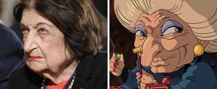 """26. Хелен Томас выглядит как Юбаба из мультфильма """"Унесённые призраками"""" вещи, люди, похожие лица, схожесть"""