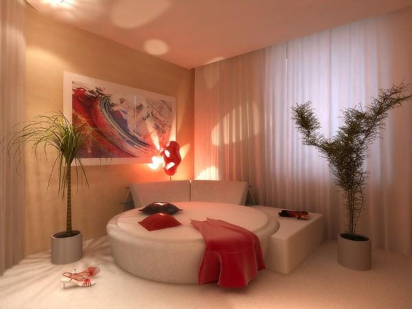 современный интерьер спальни оформление крупными растениями
