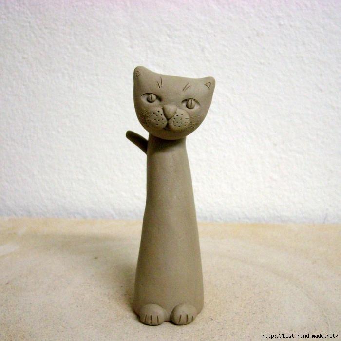 Кошки из глины своими руками