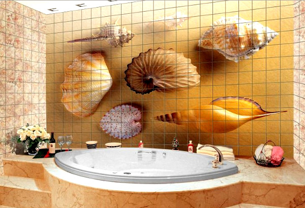 плитка с картинами для ванны дизайн фото