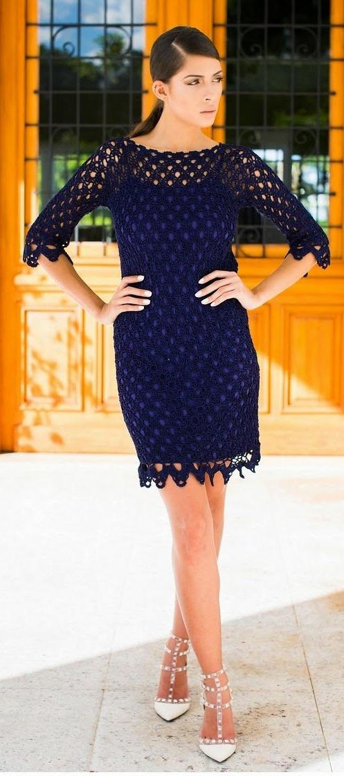 Темно-синий ажур арками.Платье