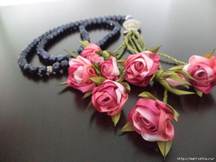 Миниатюрные цветы из ленточек. Мастер-классы (36) (700x525, 224Kb)