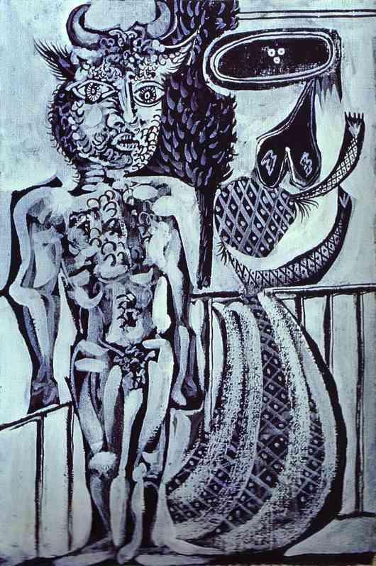 Пабло Пикассо. Минотавр с женой. 1937 год