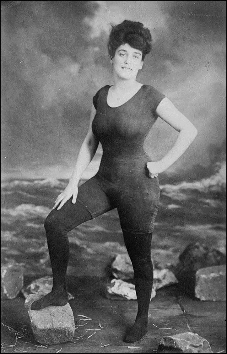 Аннет Келлерман продвигает право женщин носить облегающий сплошной купальник, 1907. Она была арестована за непристойное поведение Историческая фотография, история, факты