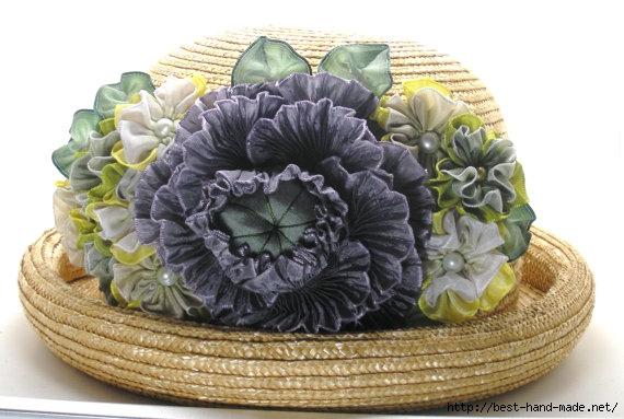 Цветы — броши из лент в технике  шибори