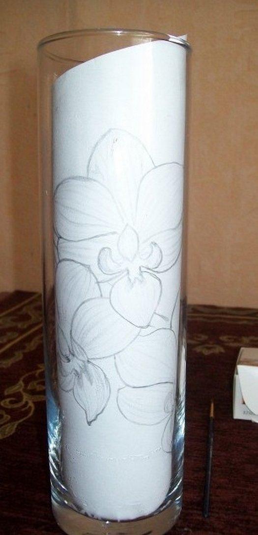 подготовительные работы для росписи вазы красками