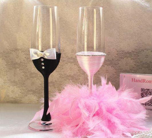 Идеи свадебного декора бокалов