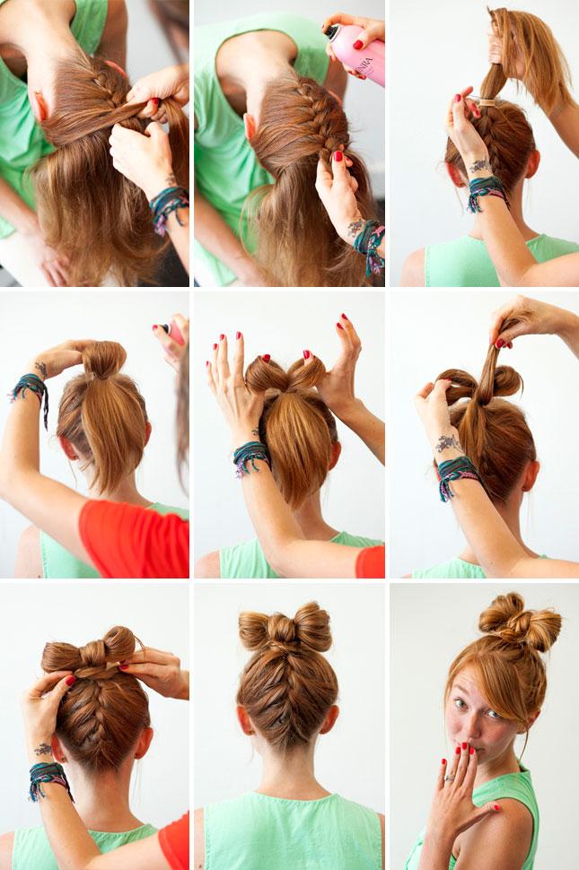 Как сделать причёску бант на длинные волосы видео