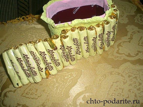 Изготовление шкатулки из конфет, шаг 2