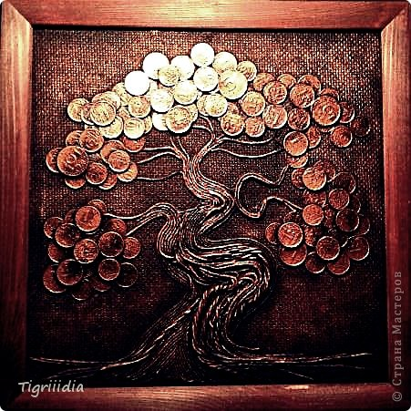 Картина панно рисунок День рождения Аппликация Денежное бонсай-дерево в подарок Бумажные полосы Клей Краска Металл Мешковина фото 1