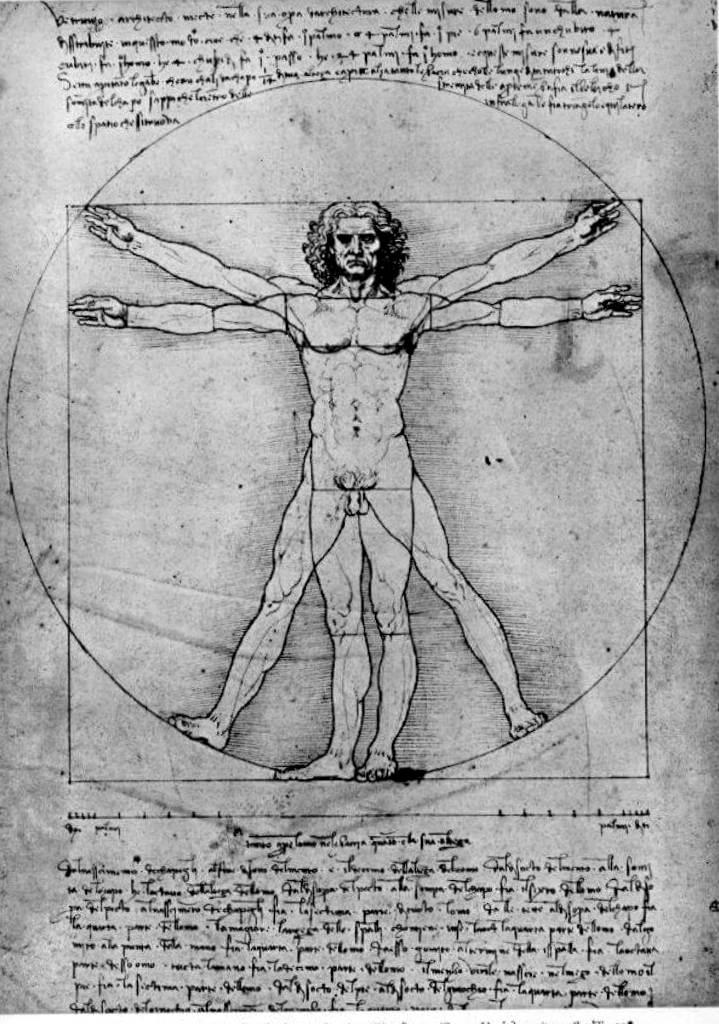 Пропорции человеческой фигуры (Витрувианский человек) - Леонардо да Винчи (1492)