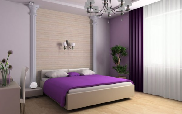 современный интерьер спальни интересное оформление растениями