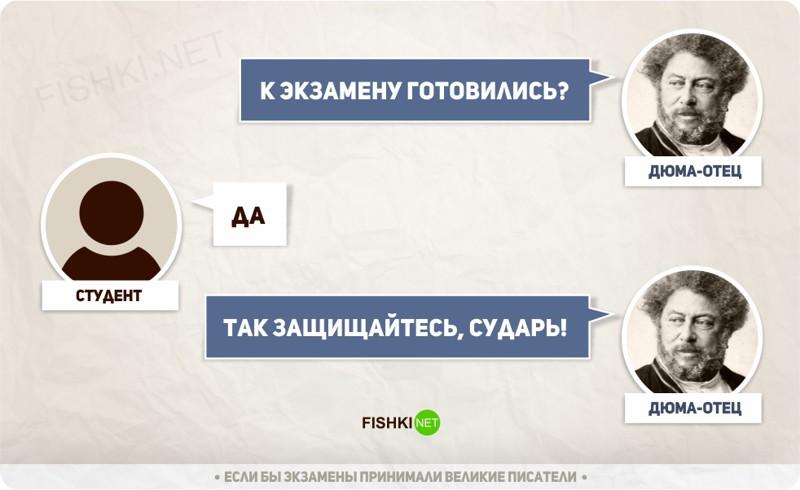 Из жизни студента... когда б экзамены принимали классики...))