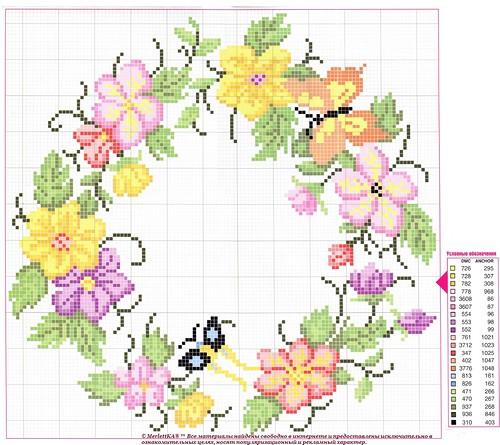 схема роз и цветов вышивка крестиком подушки термобелья Craft