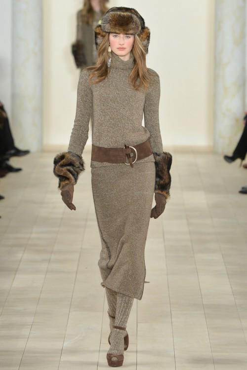 Ralph Lauren осень-зима 2015-2016, NYFW, knitwear, Неделя моды, вязана мода, кэмел, вязаная водолазка, вязаная юбка (фото 1)