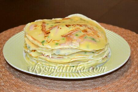 Вкуснейшие утренние блины с сыром и ветчиной