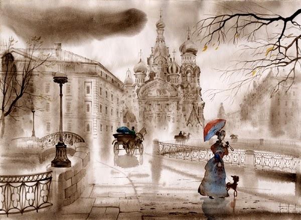 Серый Петербург в акварели Светланы Гаджиевой