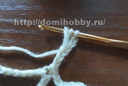 Узор крючком шишечки на сетке