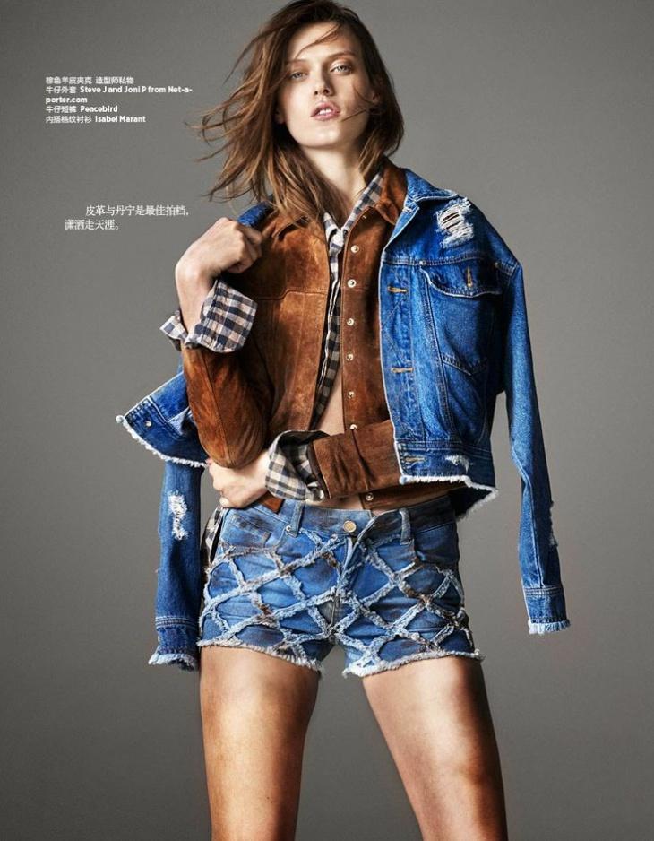 Девочки в дениме  (Harper's Bazaar China March 2015)