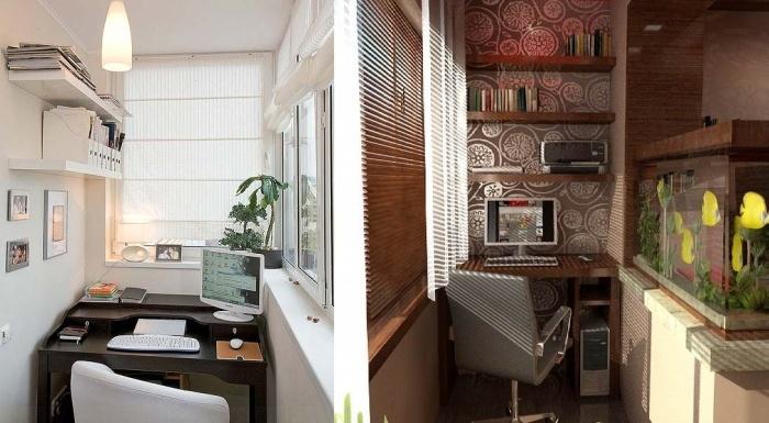 Интерьер балкона рабочего кабинета..