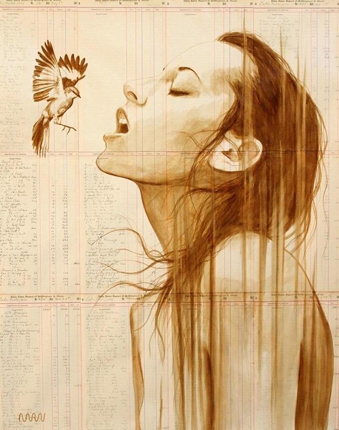 Художник создает портреты на винтажной бумаге, используя только кофе