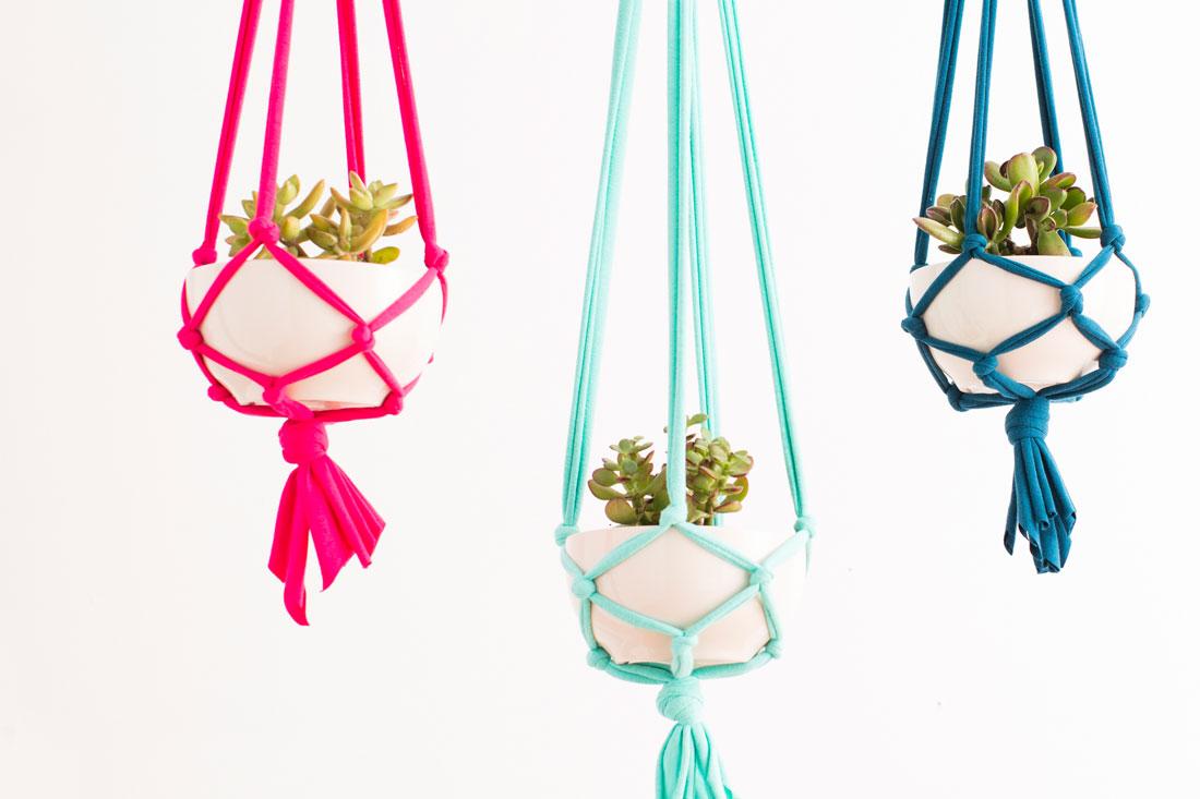 Подвесные кашпо макраме для цветов своими руками