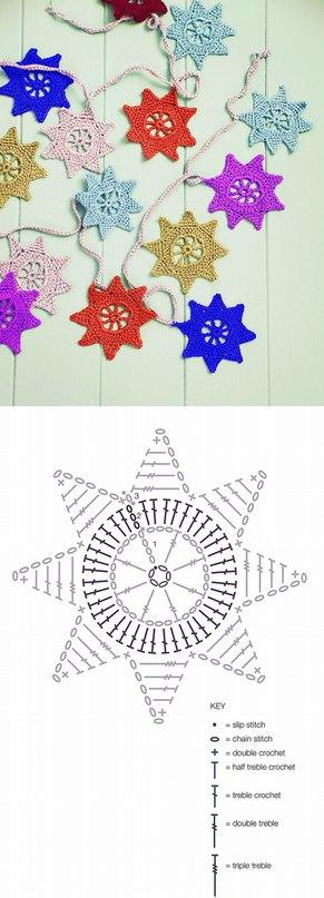 Готовимся к Новому году - вяжем снежинки и звезды