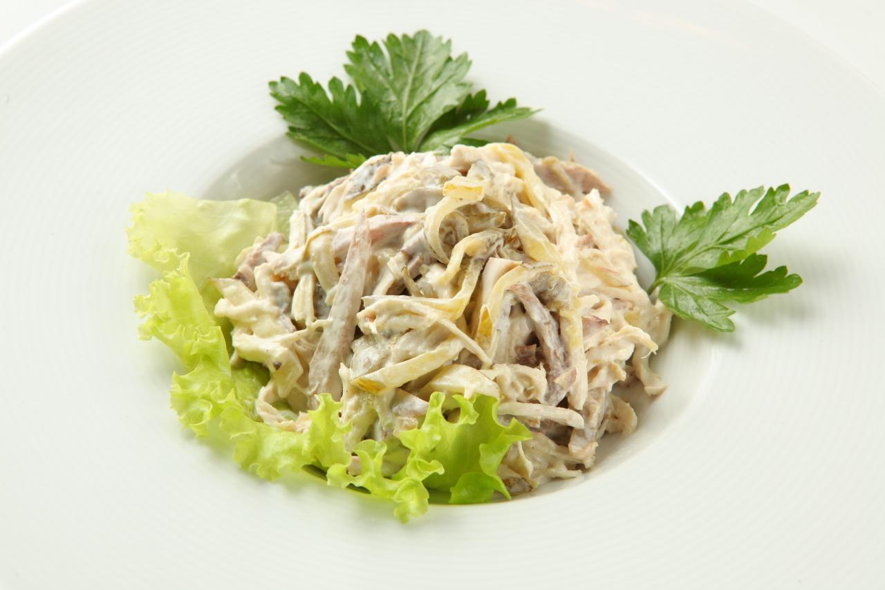 Салат из говяжьего языка с грибами рецепт
