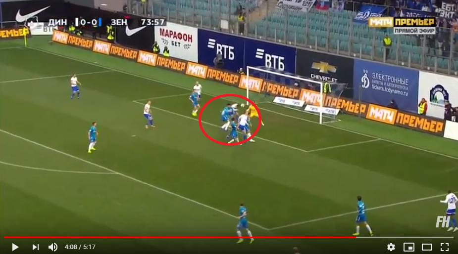 Опубликовано видео гола и опасных моментов матча «Динамо» – «Зенит»