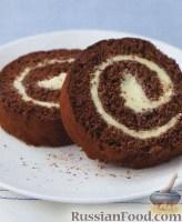 Фото к рецепту: Шоколадный швейцарский рулет с масляным кремом