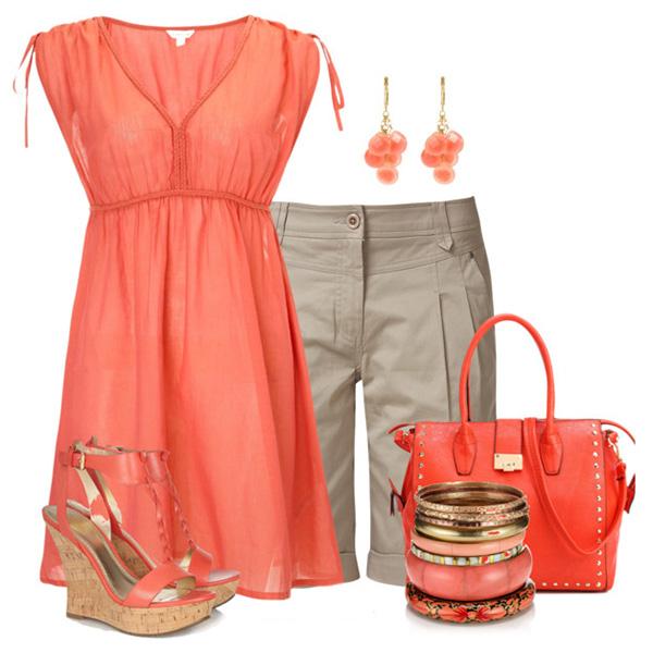 Коралловый цвет в одежде с чем носить