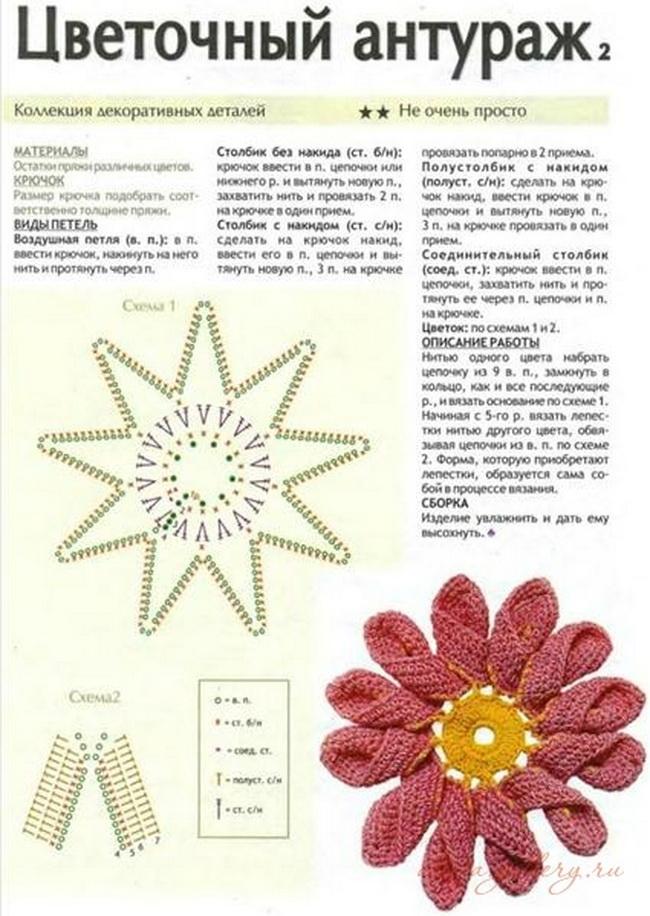 Схемы цветов вязанных крючком с