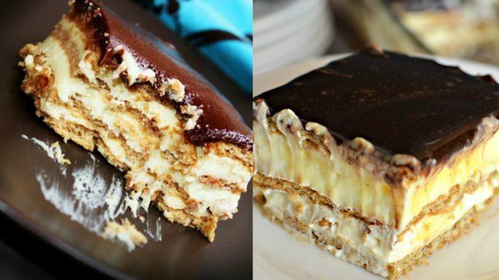 Торт-эклер из печенья получается настолько вкусным, что одним кусочком вы не обойдетесь